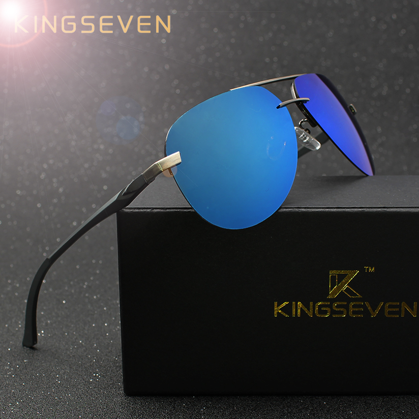 f5528f2848e KINGSEVEN Aluminum Magnesium Polarized Sunglasses Men Driver Mirror  Sunglasses
