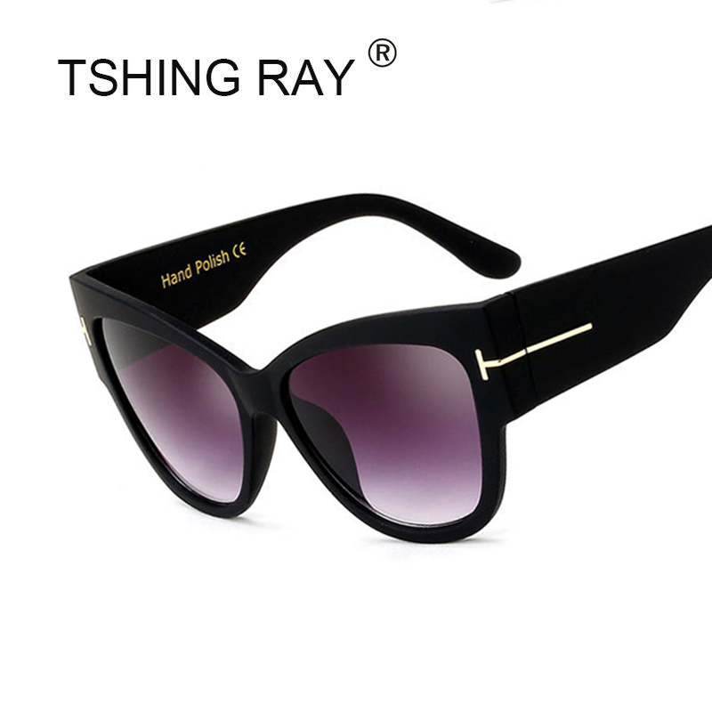 d36570e7978 TSHING RAY Tom Fashion Brand Designer Cat Eye Women Sunglasses Female  Gradient Points