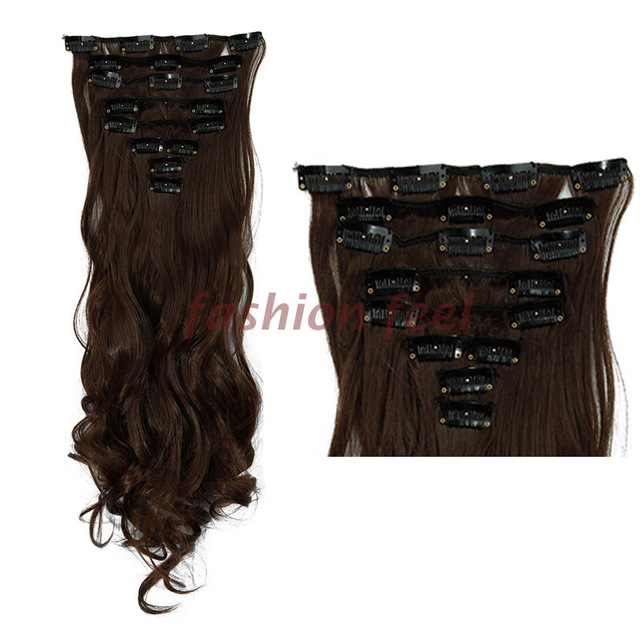 Natural Remy Clip In Hair Extensions 8 Pieces Full Head Long Hair