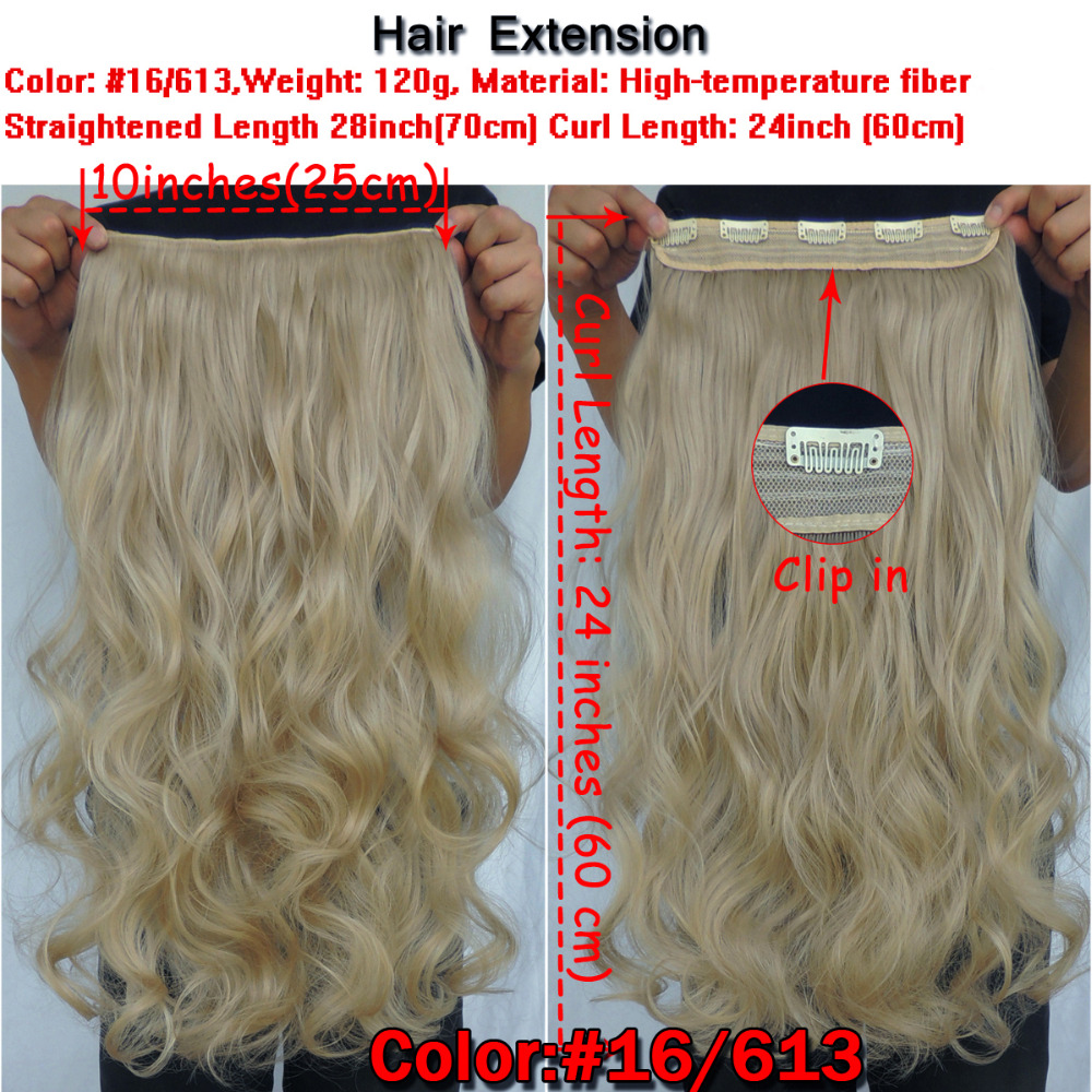 Hair Extension 70cm Synthetic Hair Clips Extensions 120g Curly