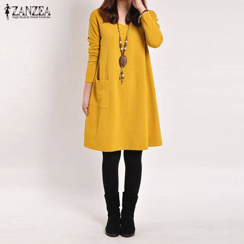 fc9910d66e Winter Spring Women Vintage Long Sleeve Pockets Dress Casual Loose Ladies V  Neck Mini Dresses Plus Size