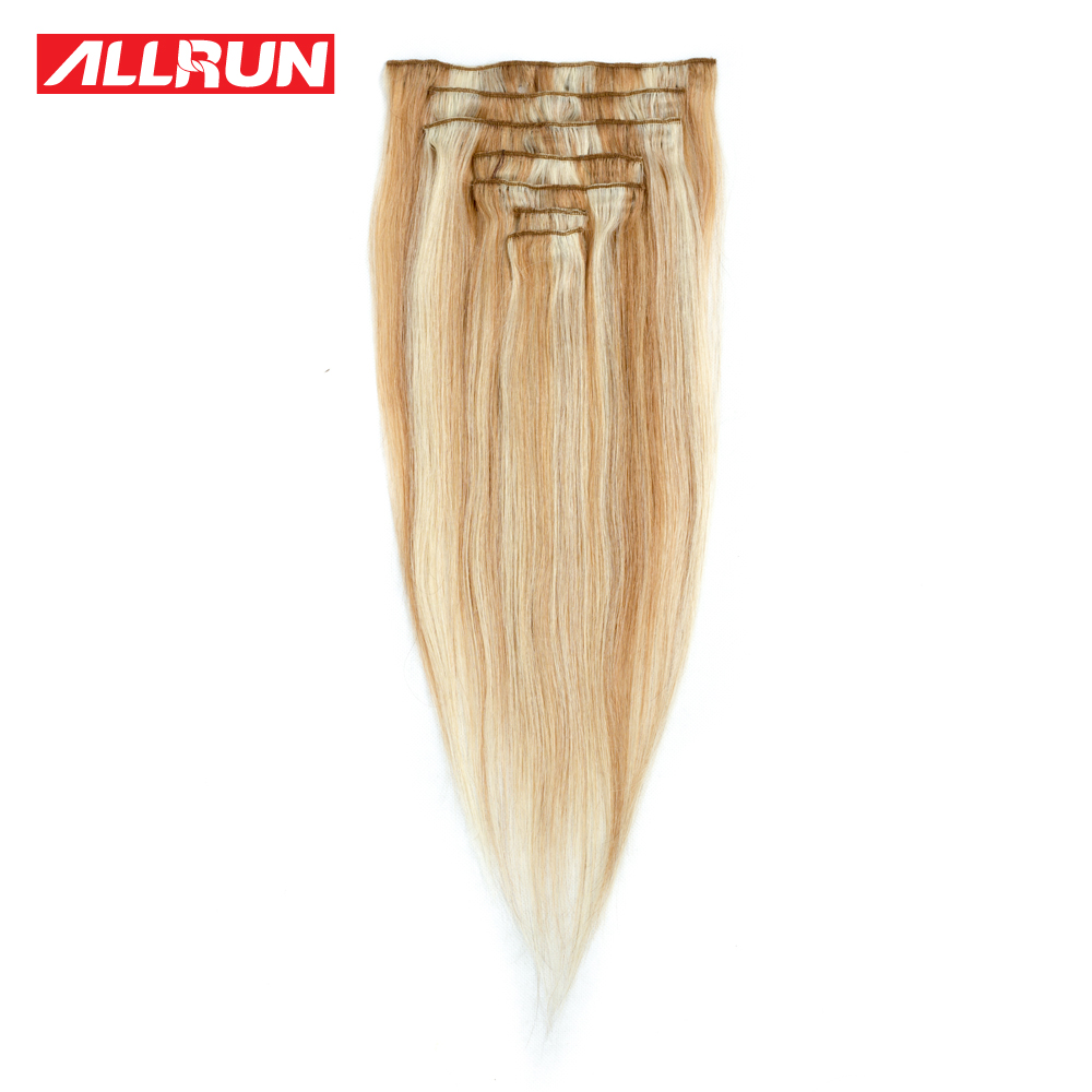 Allrun P27613 Clip In Full Head Straight Human Hair Extensions 16