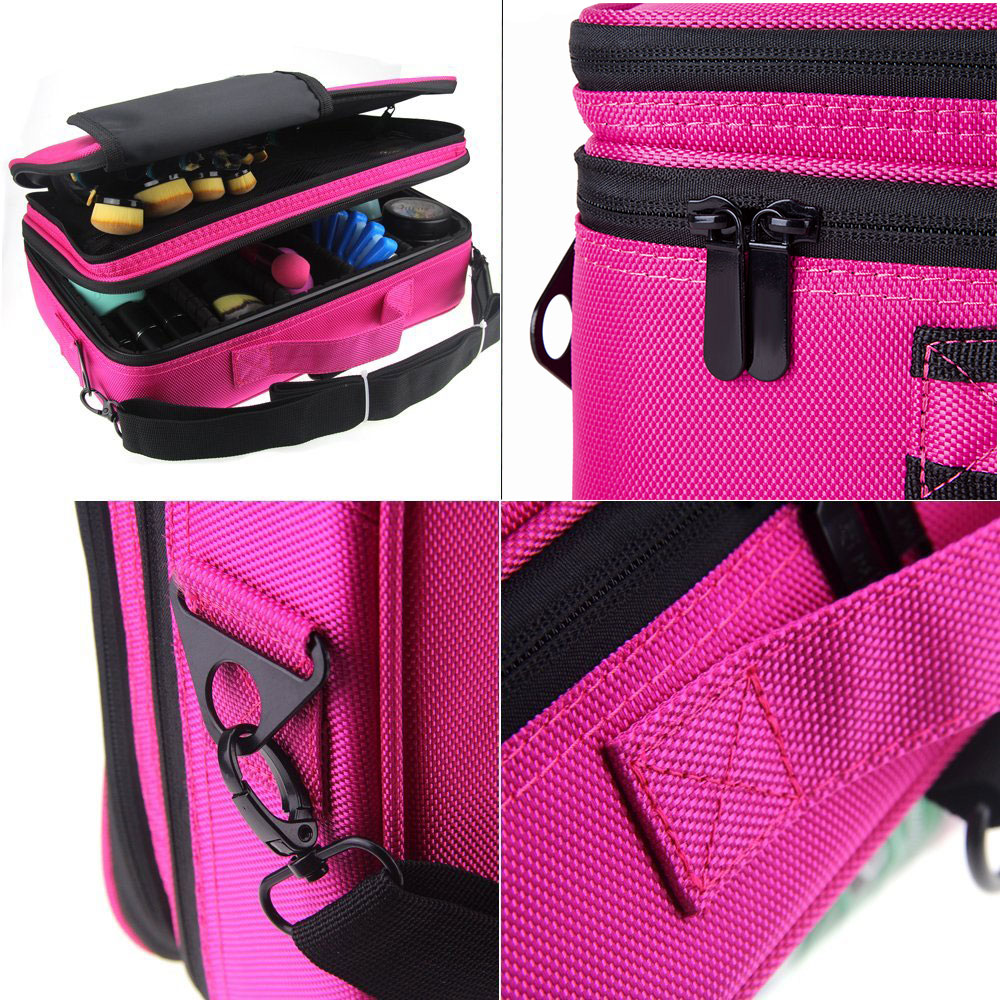 Attractive Hotrose Women Professional Makeup Organizer Kit Pink Cosmetic Case Large  Capacity Storage Bag Free Disassembly Makeup Suitcases