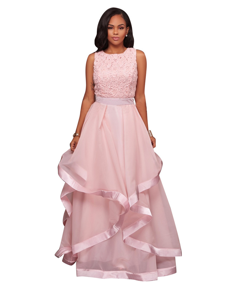 Ladies Pink Sleeveless Floral Lace Ball Gown Dresses Women Elegant ...