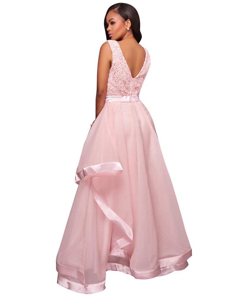 Gowns For Women: Ladies Pink Sleeveless Floral Lace Ball Gown Dresses Women