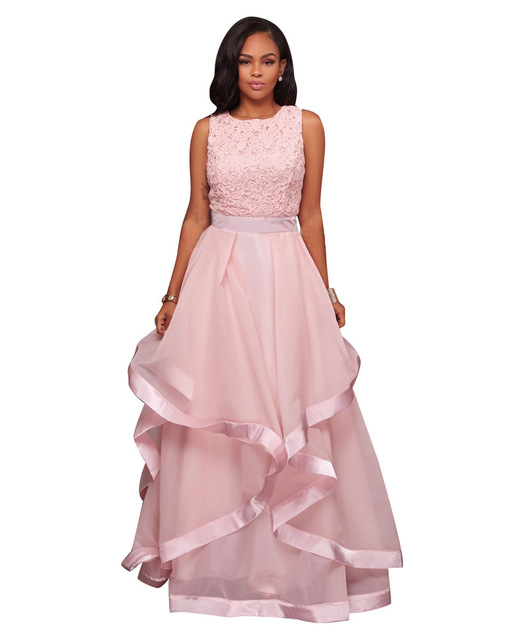 Ladies Pink Sleeveless Floral Lace Ball Gown Dresses Women Elegant