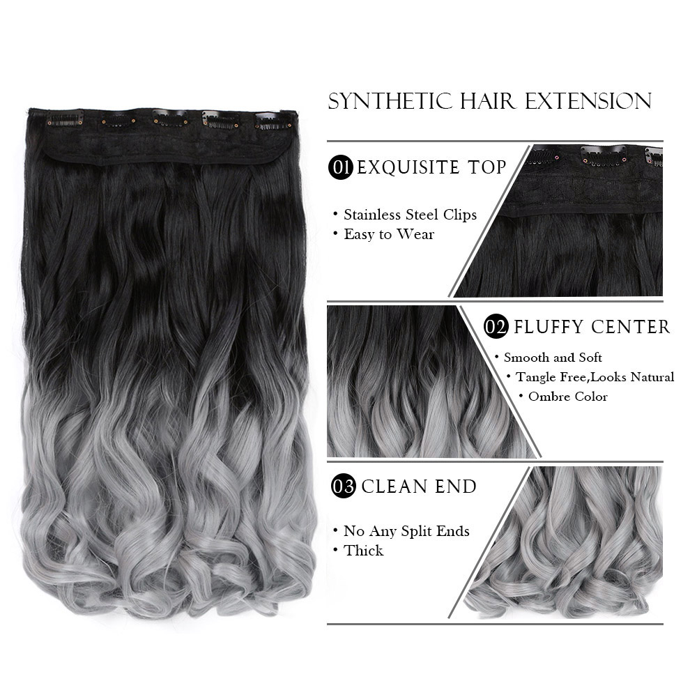 Wavy Style Ombre Colored 5clips One Piece Synthetic Hairpiece Clip
