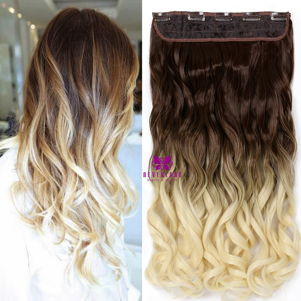 Hair Extension Synthetic Wavy Hair One Piece 5clips Ombre Natural