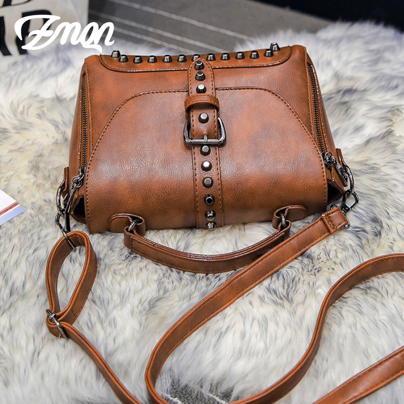 08a3fe6375ed Women Messenger Bags Vintage Leather Bags Handbags Women Famous Brand Rivet  Small Shoulder