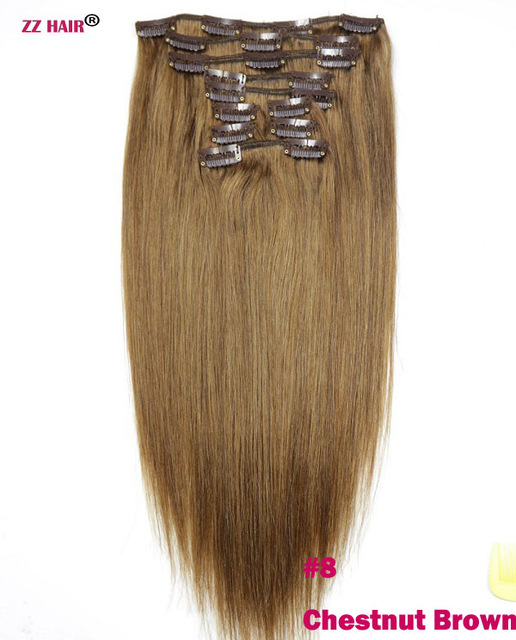 Non Remy Hair 10 Piece Set 20 Clips In Human Hair Extensions 22