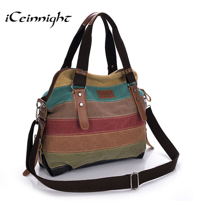 iCeinnight Canvas Striped Women Messenger Bags High Quality Casual Tote Big  Handbag School Shoulder Bag with long belt bolsas  e325e7076e556