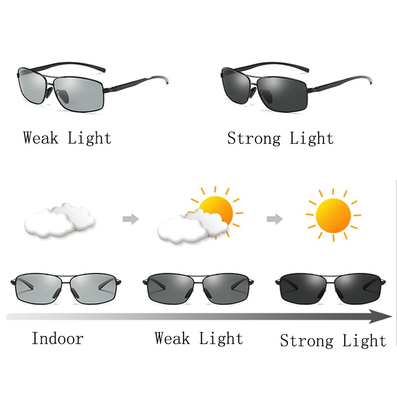 4bb4312bd1 2018 AORON Photochromic Sunglasses Men Polarized Discoloration HD Goggles  Male ...