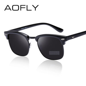 84a13a75ed97 AOFLY Classic Half Metal Polarized Sunglasses Men Women Brand Designer  Glasses Mirror Sun Glasses Fashion
