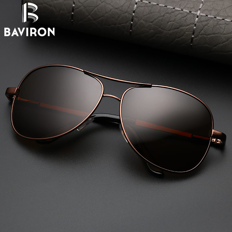 6de1dd33f7 BAVIRON Aviator Sunglasses Men Polarized Sunglasses Black Pilot ...