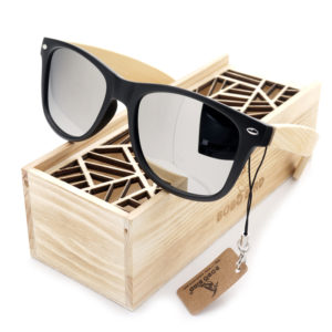 a23b52338d BOBO BIRD Men Summer Style Vintage Black Square Sunglasses Lady With Bamboo  Mirrored Polarized Travel Eyewear in Wood Box BS23
