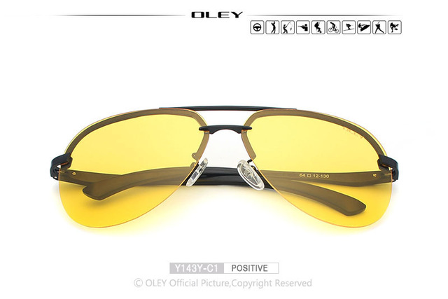 40ab0ae9c4d OLEY Yellow Polarized Sunglasses Men night vision glasses Brand Designer  women spectacles car drivers Aviation goggles ...