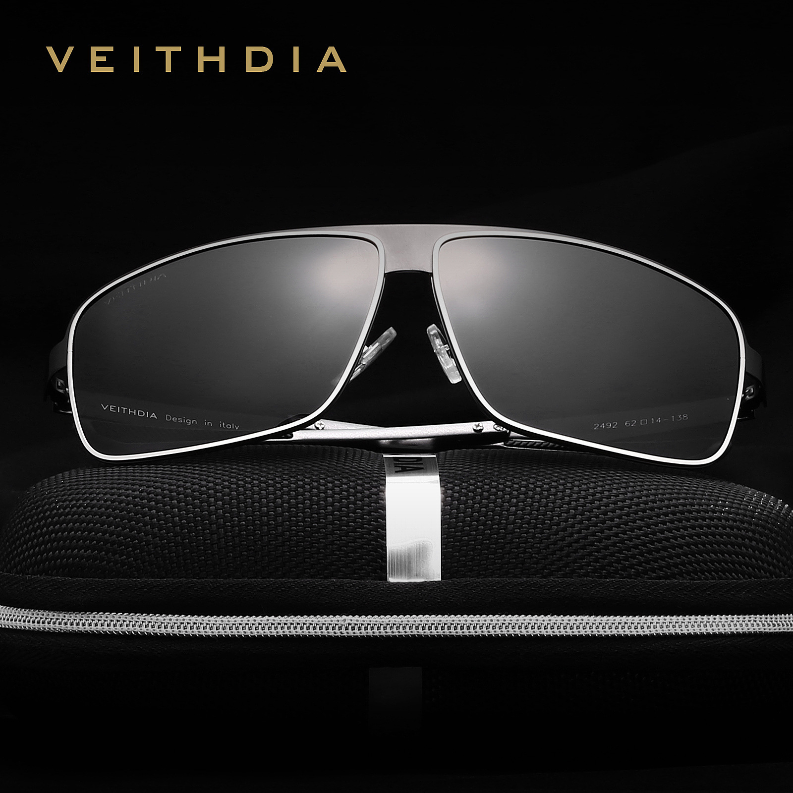 25d77ed9bf VEITHDIA Stainless Steel HD Aluminum magnesium Polarized UV400 Men s Square  ...