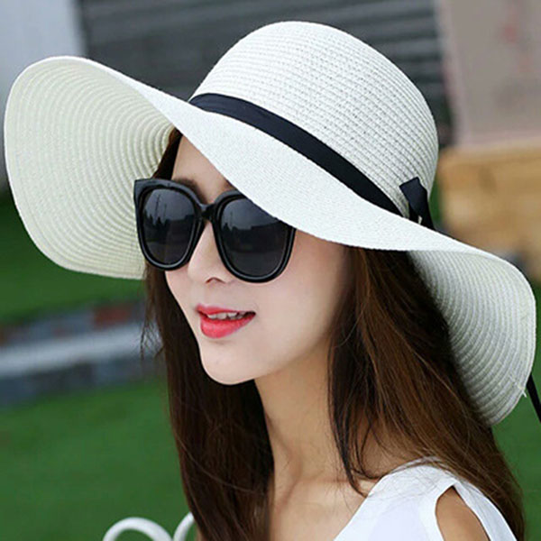2018 Hot Sale Round Top Raffia Wide Brim Straw Hats Summer Sun Hats for  Women ... 61e17d36db94