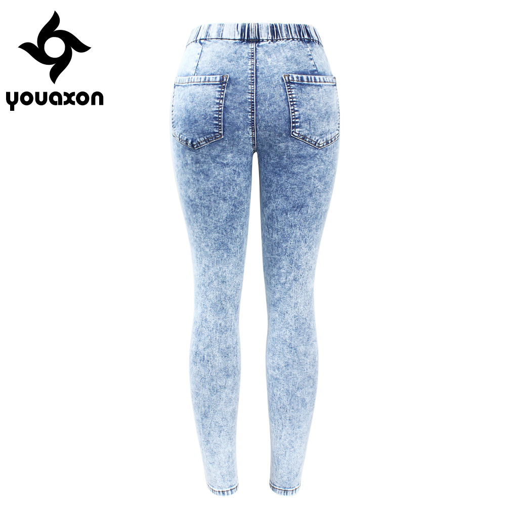 804d0cabc6e 2129 Youaxon New Plus Size Ultra Stretchy Acid Washed Jeans Woman Denim  Pants Trousers For Women ...