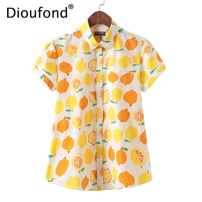6e05e1b209ec Dioufond 2018 Summer Cotton Lemon Print Short Sleeve Blouse Shirt White Women  Loose Hawaiian Fashion Tops ...