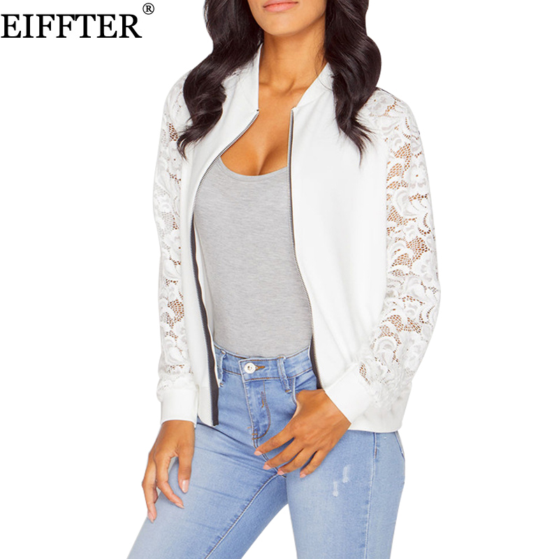 1f385d4d9 EIFFTER Women Jackets New Arrival Autumn Ladies Solid Lace Stitching  Baseball Jacket Stand Collar Bomber Jacket Coat Outwear