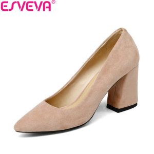 ee6c4c4f49a1 ESVEVA 2018 Women Pumps Sweet Style Square High Heel Flock Pointed Toe  Spring and Autumn Elegant Shallow Ladies Shoes Size 34-43