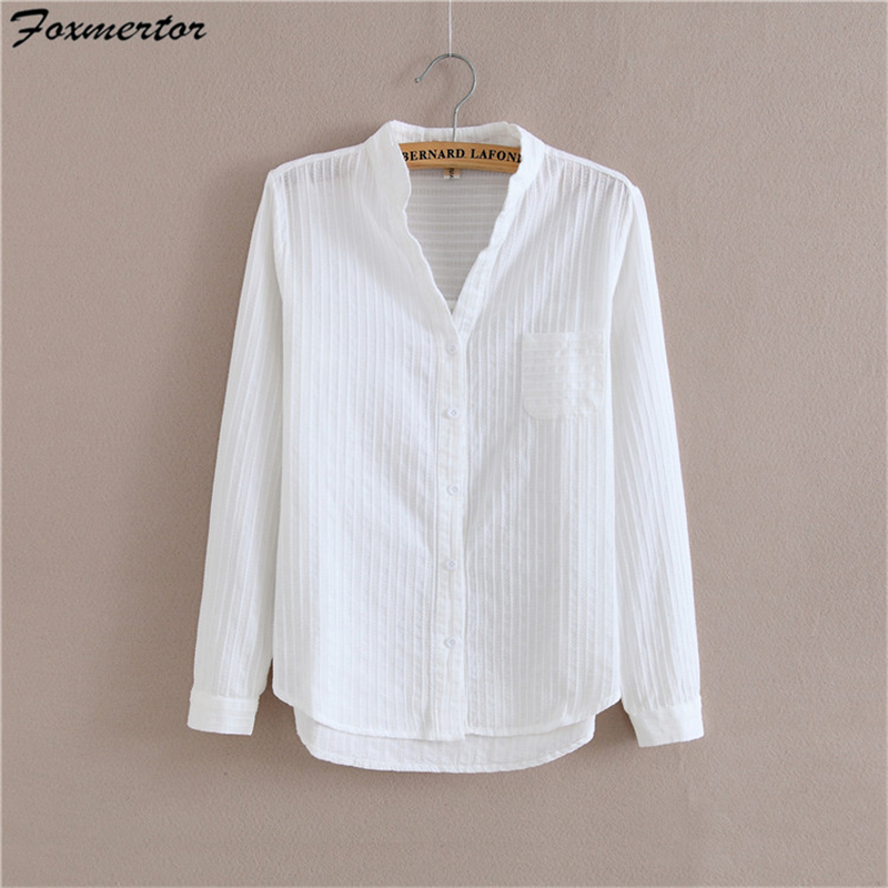 a398a0f68f46e Foxmertor 100% Cotton Shirt White Blouse 2018 Spring Autumn Blouses Shirts  Women Long Sleeve Casual Tops Solid Pocket Blusas #06