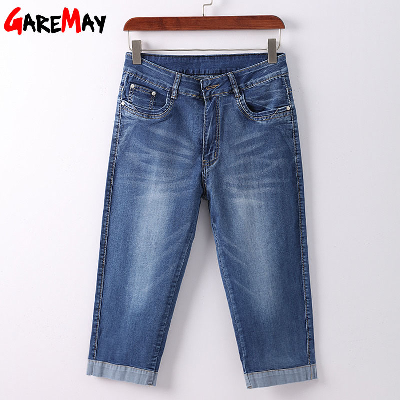 1869a74a73a GAREMAY Plus Size Skinny Capris Jeans Woman Female Stretch Knee Length Denim  Shorts Jeans Pants Women With High Waist Summer