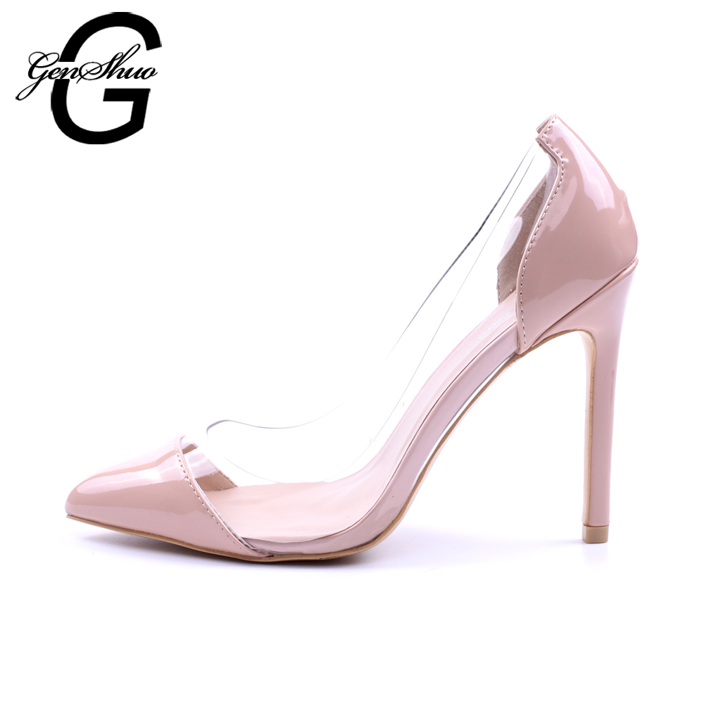 Genshuo Transparent Lady 42 Sexy 2018 Wedding 11cm Slip For Pointed Shoes Pumps On Toe Women Party 41 Leopard High Heels Size hQdCtsr