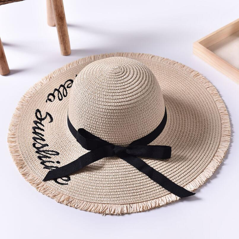 Handmade Weave letter Sun Hats For Women Black Ribbon Lace Up Large ... 0451c53a2ca