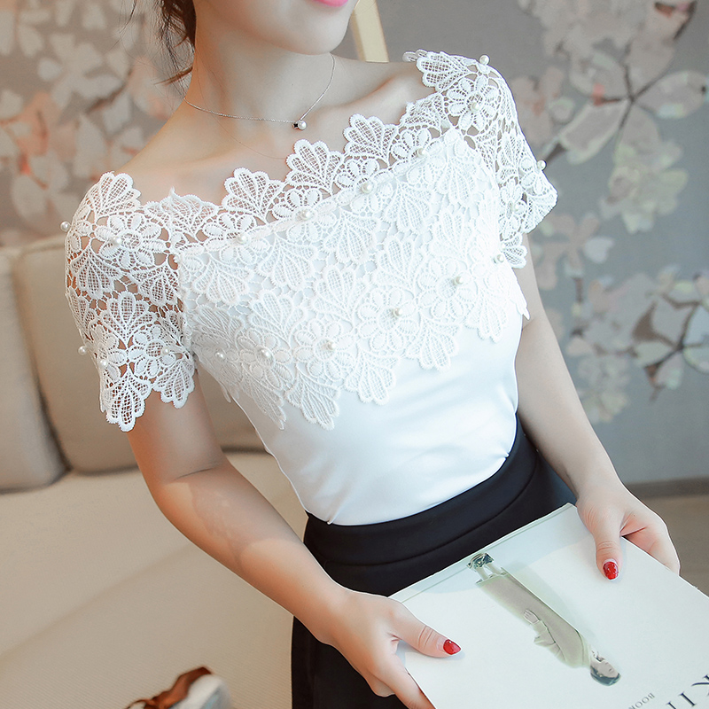 Hollow Out Women Sexy Short Sleeve Blouse Ladies Fashion Elegant