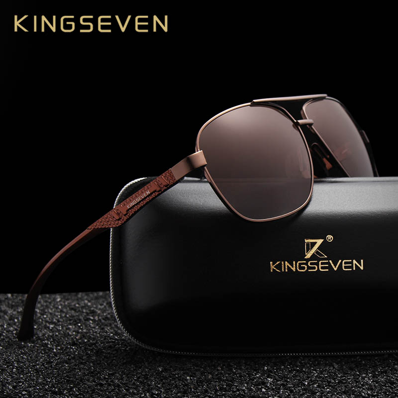 98d3e6d1081 KINGSEVEN 2018 Brand Men Aluminum Sunglasses HD Polarized UV400 ...
