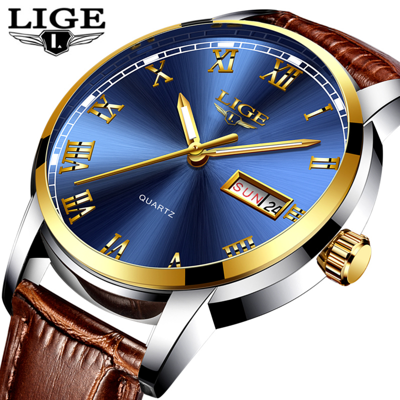 f7653b588 LIGE Mens Watches Top Brand Luxury Leather Casual Quartz Watch Men ...