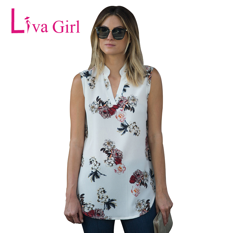 0f18fc84b0010 Liva Girl Chiffon Top Shirt Women Blouse Casual Sleeveless Tunic V ...