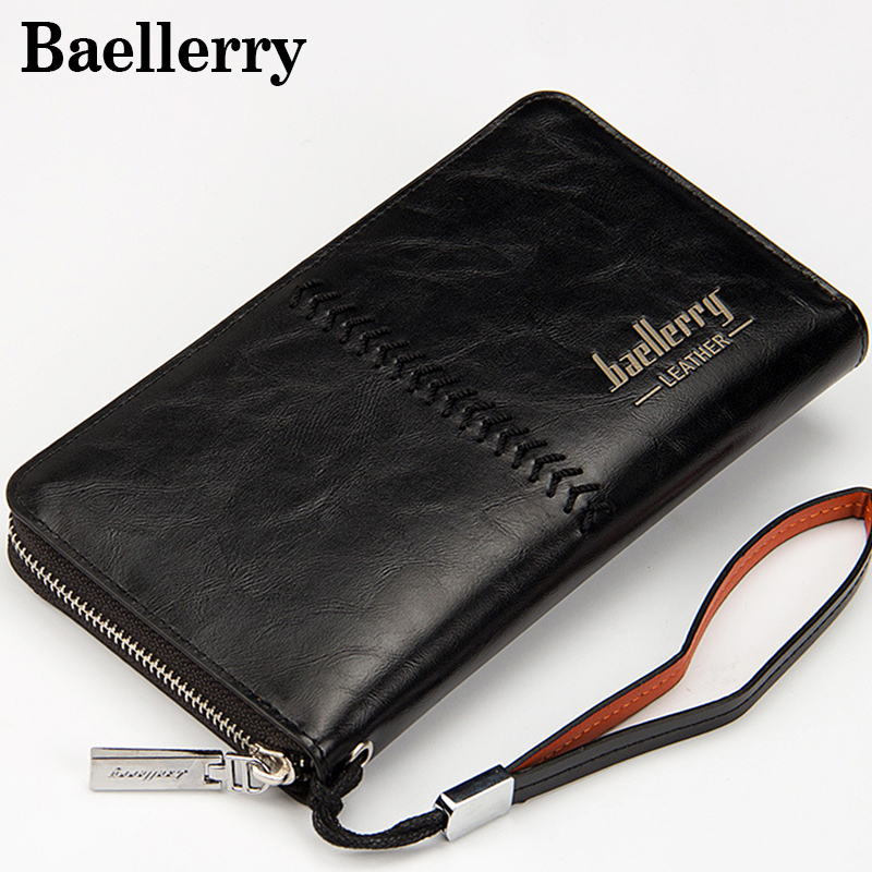 46100046ac3f Luxury Brand Men Wallets Purse Money Bag Leather Men Clutch Wallet Male  Wrist Strap Baellerry ...
