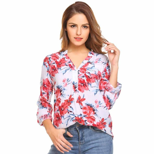 036a4ae0 Meaneor Women Floral Print Blouse Tops 1950s 60s Vintage Autumn ...