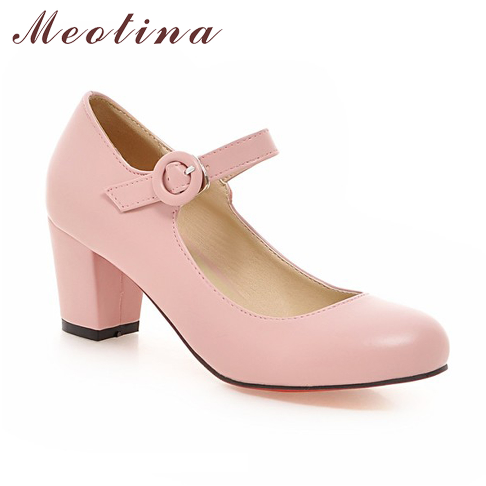 be4c6a1111485 Meotina Women Shoes Mary Jane Ladies High Heels White Wedding Shoes Spring  Thick Heel Pumps Shoes Black Pink Plus Size 43 9 10