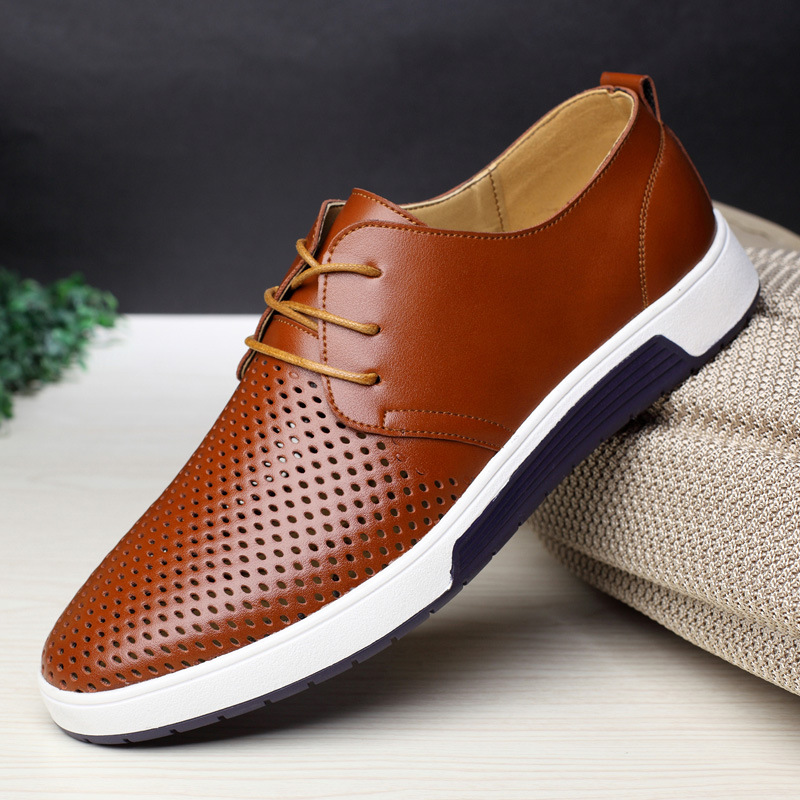 Merkmak New 2018 Men Casual Shoes Leather Summer ...