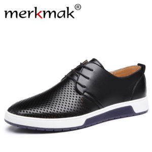 0d3cbe557 Merkmak New 2018 Men Casual Shoes Leather Summer Breathable Holes Luxury  Brand Flat Shoes for Men Drop Shipping