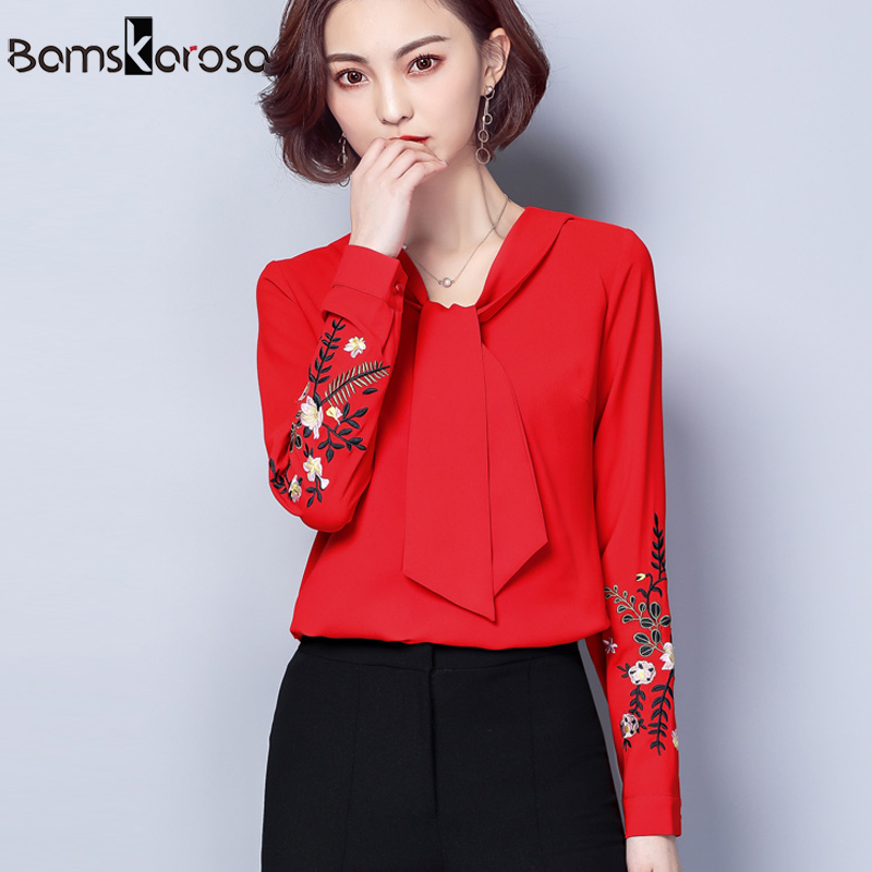 0eb4df46622 New 2018 Blouse Shirt Female Spring Long Sleeve Floral Embroidery Shirts  Women Elegant Top Ladies Plus Size Clothing Casual Tops
