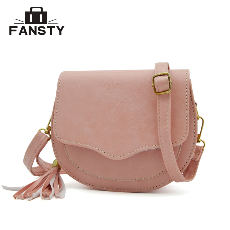 62a6b31a0905 New Arrival Women Preppy Style Circular Shoulder Bags Korean Tassel Woman  Messenger Bag Girl s Small Saddle Cross Body Bag