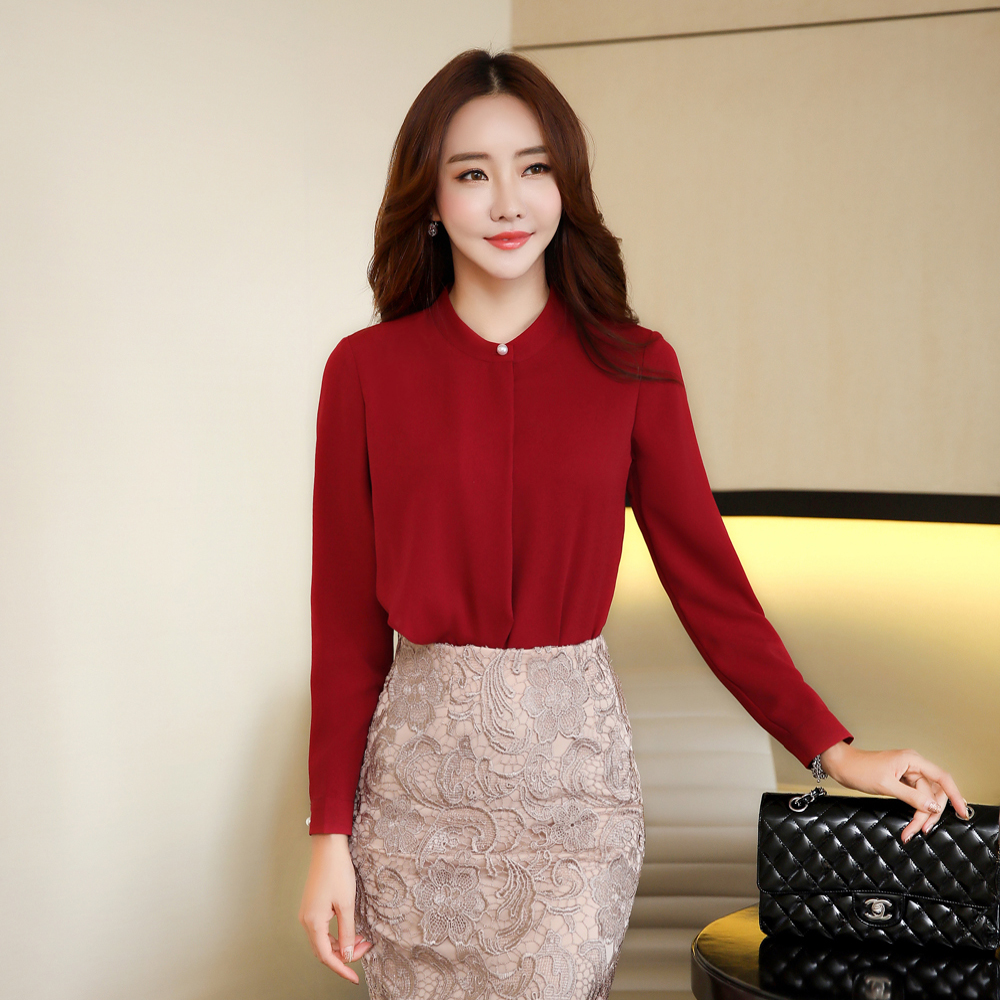 30f8adcc96d Spring Summer elegant long sleeve blouses women OL career collar ...
