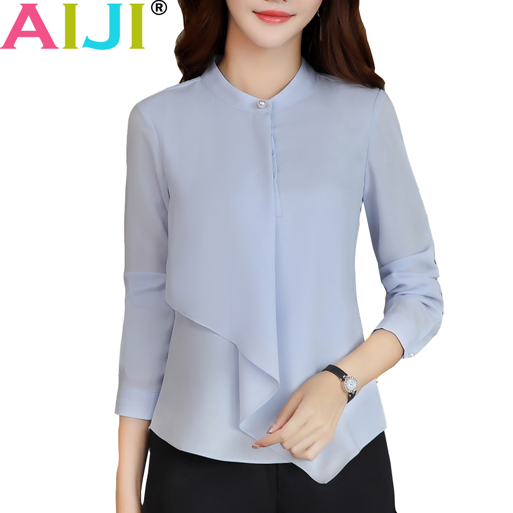 2d6fdc2797a Spring Summer elegant long sleeve blouses women OL career collar chiffon shirts  tops ladies office business plus size work wear