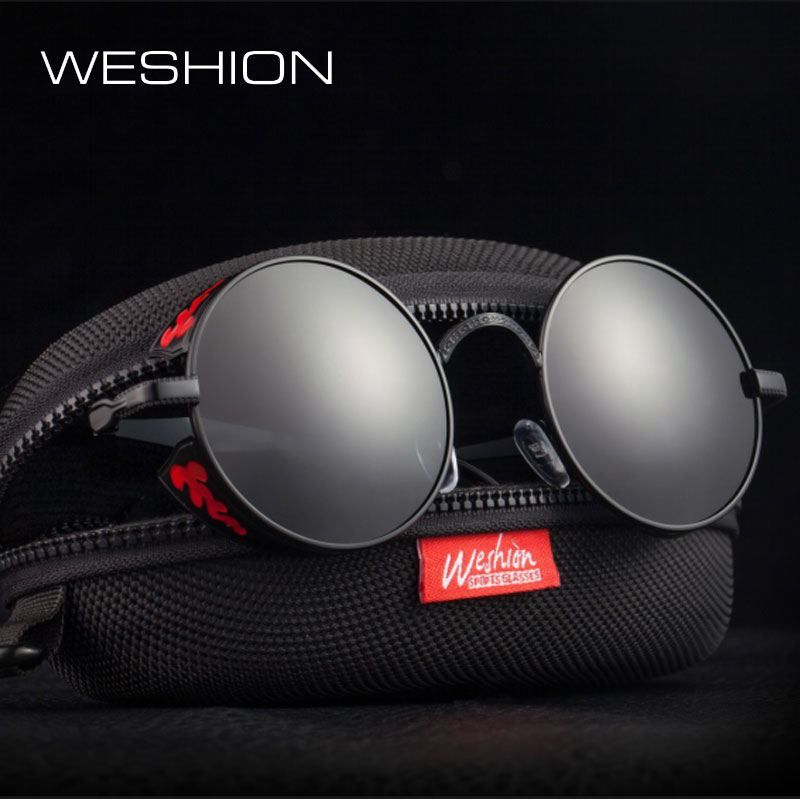 971918b72f0 Steampunk Sunglasses Goggles Polarized Men Women Round Sun Glasses Gothic Eyewear  Alloy Frame High Quality ...