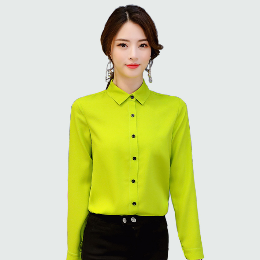 8fa9dd3de89 Women Blouse 2018 New Office Lady Spring Summer Long Sleeved Solid Shirt  Plus Size Blouses Ol Style Shirts Blusas ...