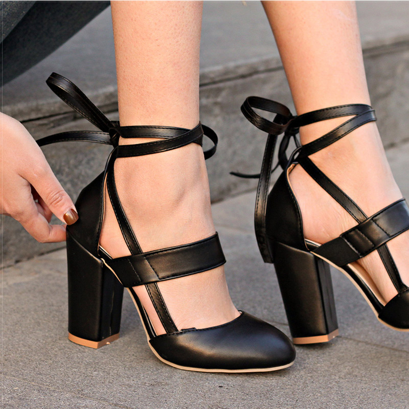 Women Pumps Comfortable Thick Heels Women Shoes Brand High Heels Ankle Strap  ... 4754bf076