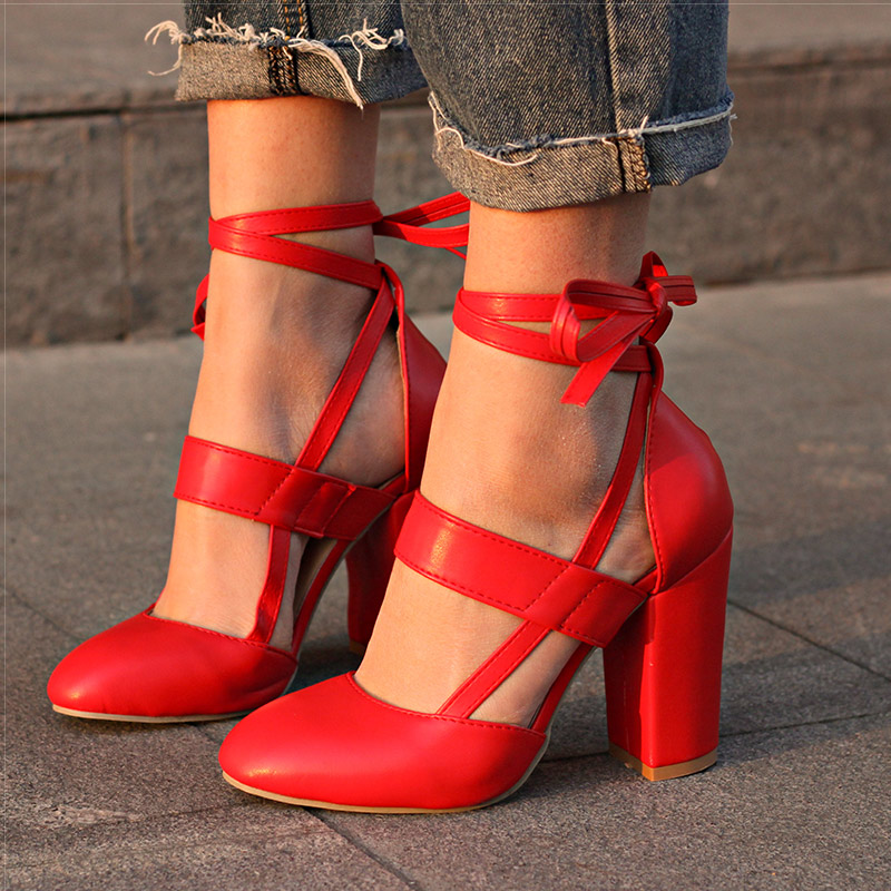 Big Red Storage >> Women Pumps Comfortable Thick Heels Women Shoes Brand High