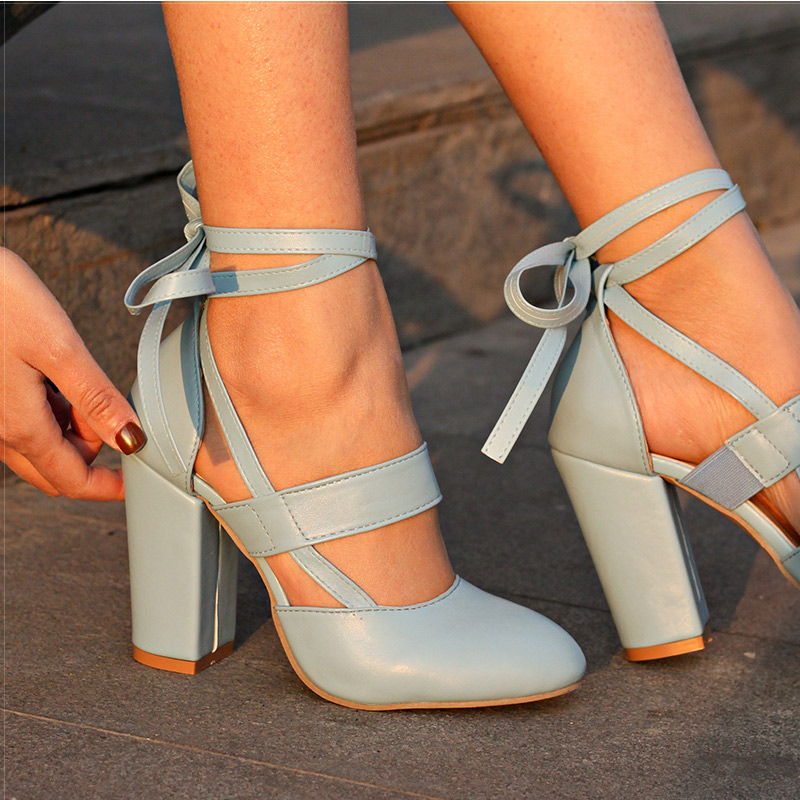 7dc6abd34969 Women Pumps Comfortable Thick Heels Women Shoes Brand High Heels Ankle Strap  ...