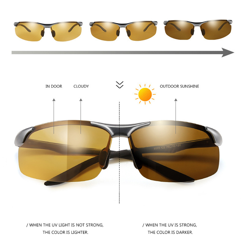 7dadc72688d 2018 Day Night Photochromic Polarized Sunglasses Men s Sunglasses for Drivers  Male Safety Driving ...