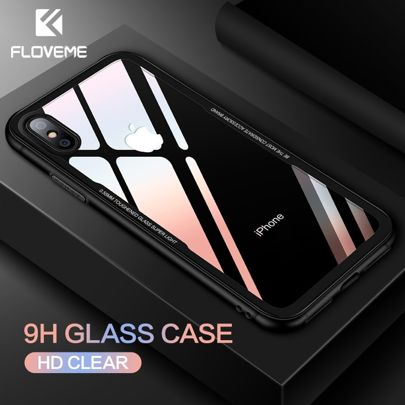watch 7cec6 153c9 FLOVEME Tempered Glass Phone Case for iPhone X 10 , 0.7MM Protective Mobile  Phone Cover Cases for iPhone 7 8 7 Plus Accessories